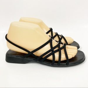 White Stag Black Strappy Stretch Sandals